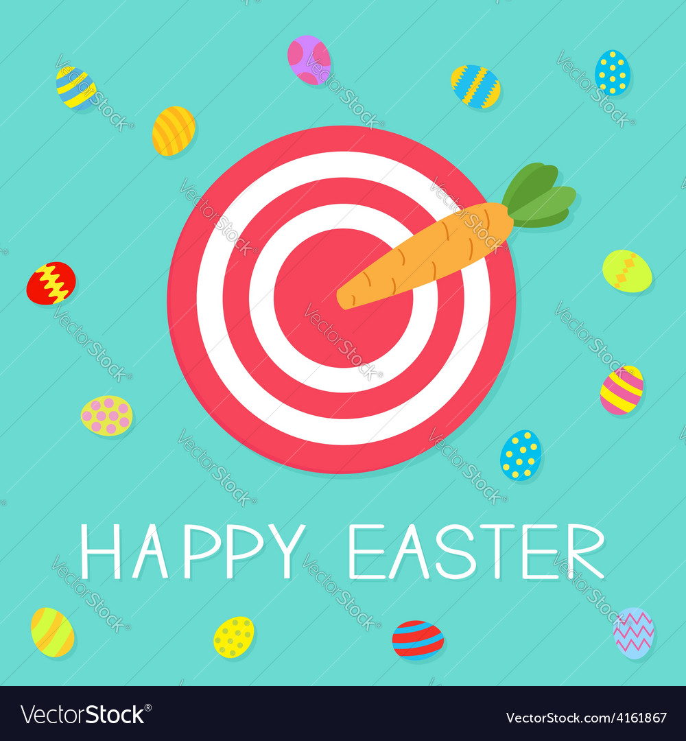 Target with carrot arrow and colored eggs happy vector | Price: 1 Credit (USD $1)