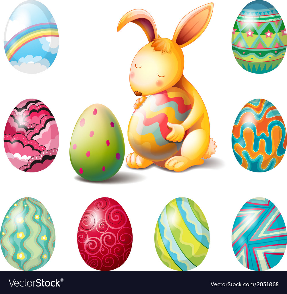 A group of easter eggs and a sweet bunny vector | Price: 1 Credit (USD $1)