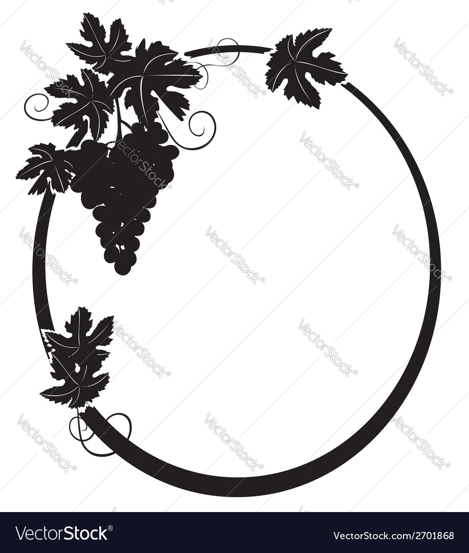 Black silhouette - oval frame with grape vector | Price: 1 Credit (USD $1)