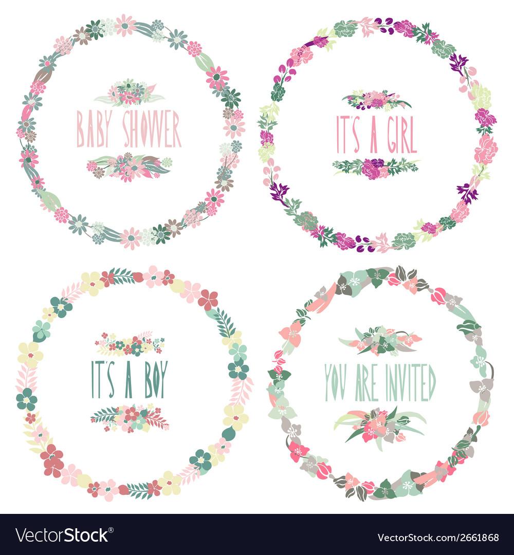 Floral frames set vector | Price: 1 Credit (USD $1)