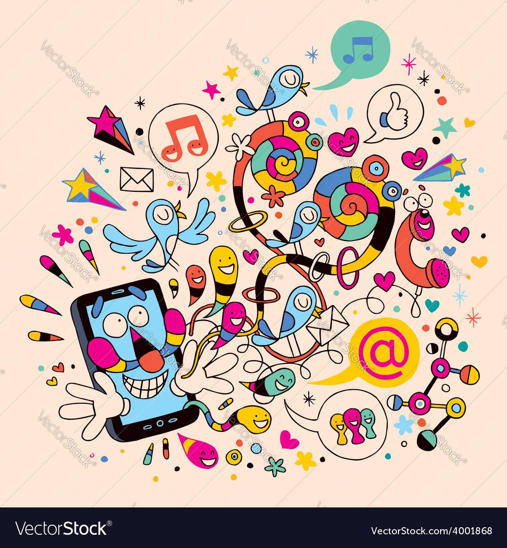 Fun mobile phone vector   Price: 1 Credit (USD $1)