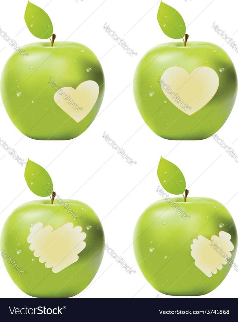 Green apple bite vector | Price: 1 Credit (USD $1)