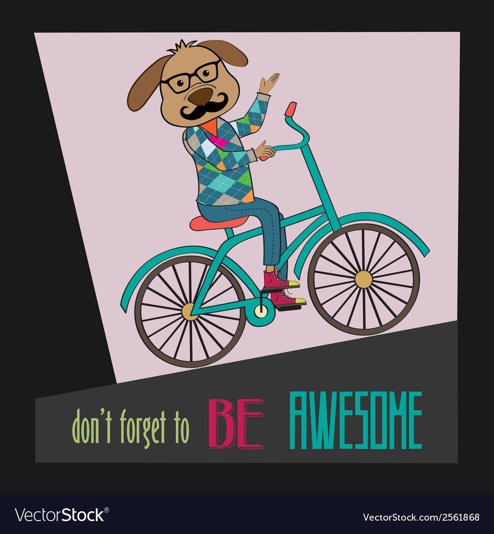 Hipster poster with nerd dog riding bike vector | Price: 1 Credit (USD $1)