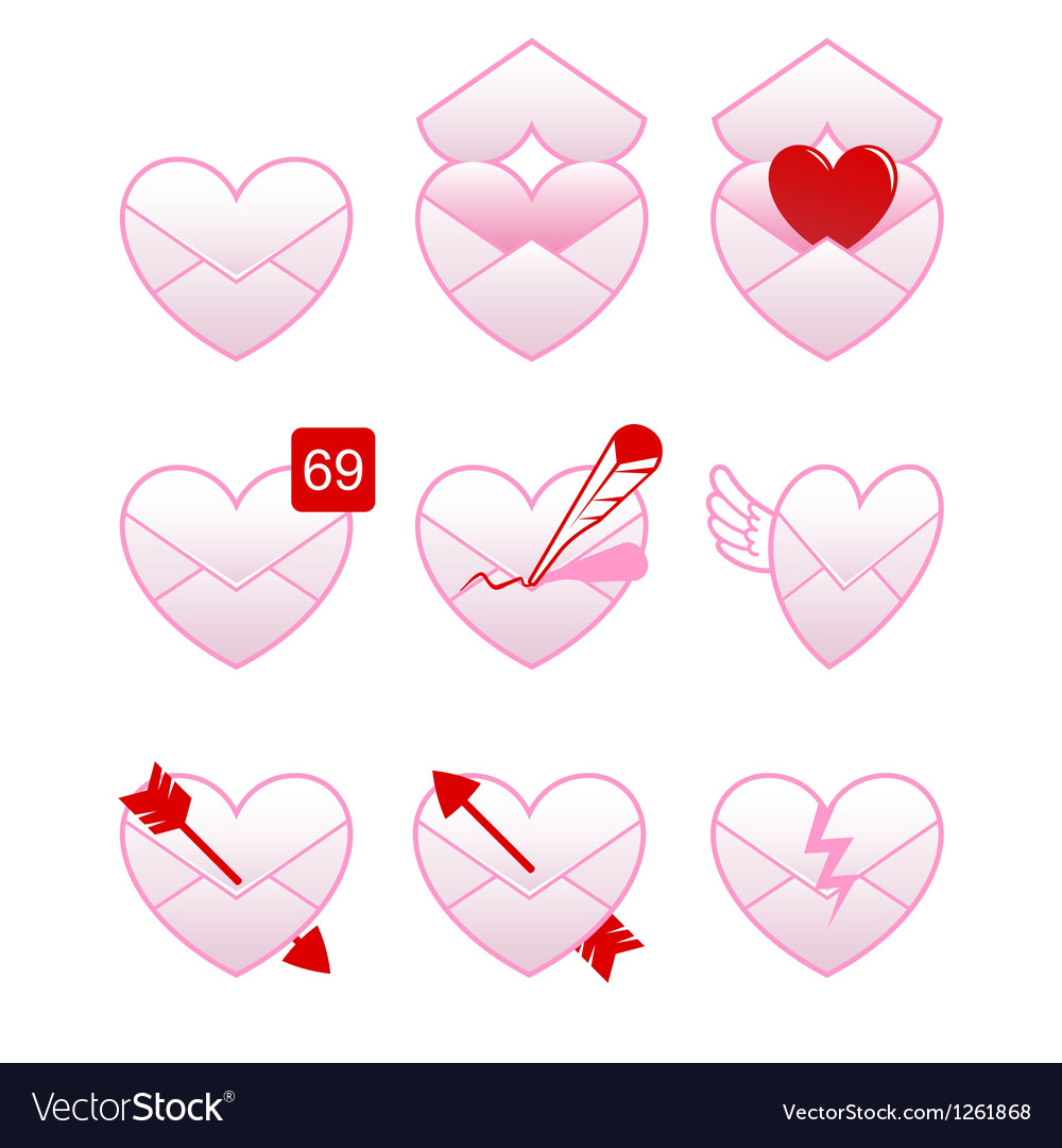 Love message icons vector | Price: 1 Credit (USD $1)