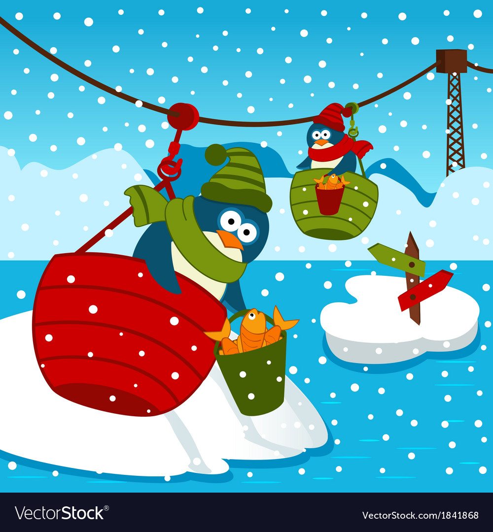 Penguin on ropeway vector | Price: 3 Credit (USD $3)