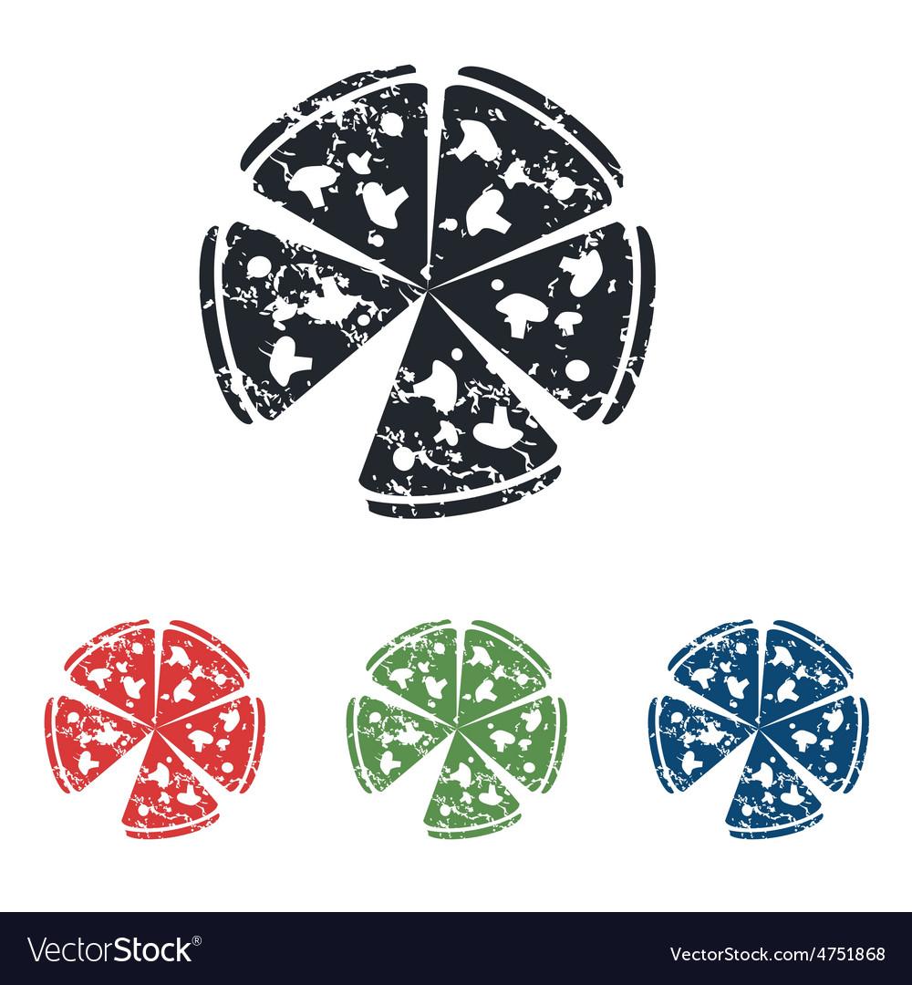 Pizza grunge icon set vector | Price: 1 Credit (USD $1)