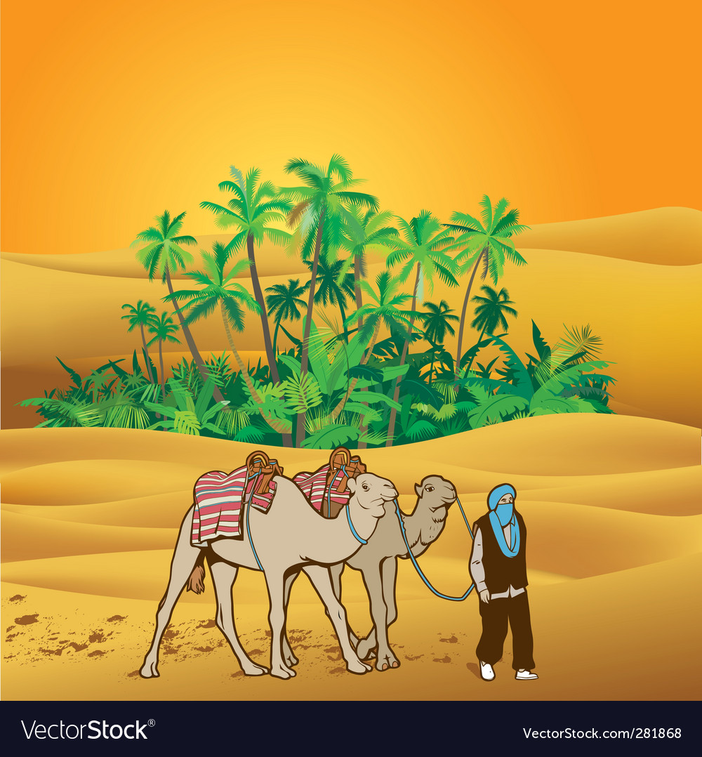 Sahara desert oasis vector   Price: 1 Credit (USD $1)