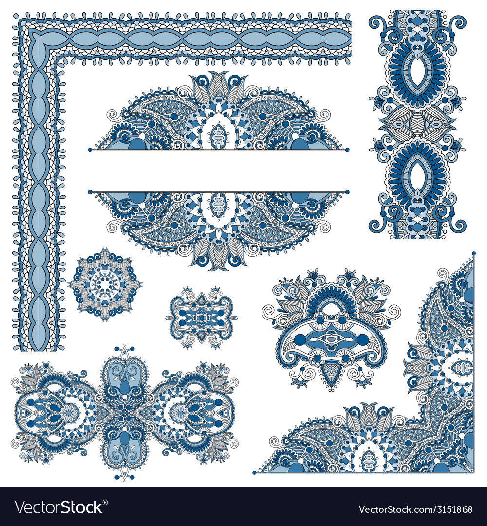 Set of paisley floral design elements for page vector | Price: 1 Credit (USD $1)