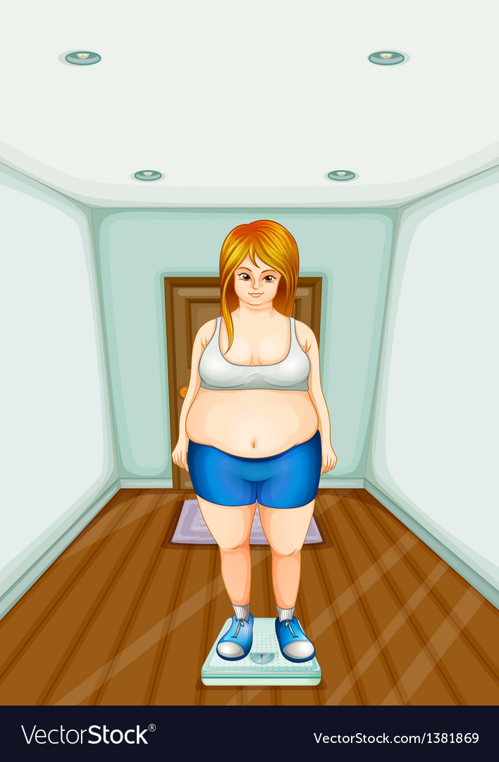 A fat girl standing on a weighing scale vector | Price: 1 Credit (USD $1)