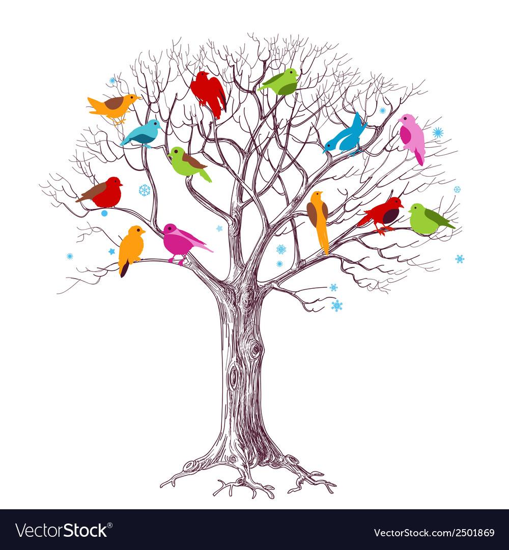 Birds christmas tree vector   Price: 1 Credit (USD $1)