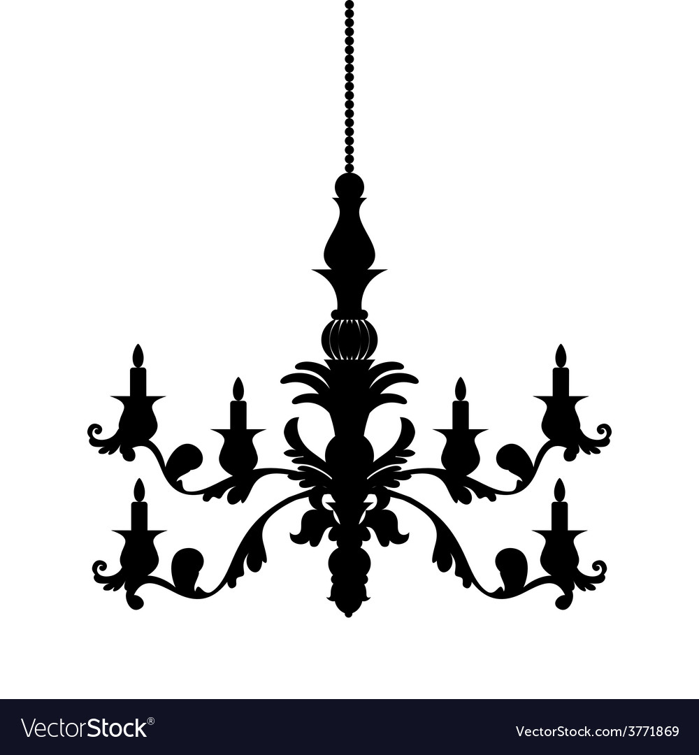 Chandelier silhouette isolated on white background vector | Price: 1 Credit (USD $1)
