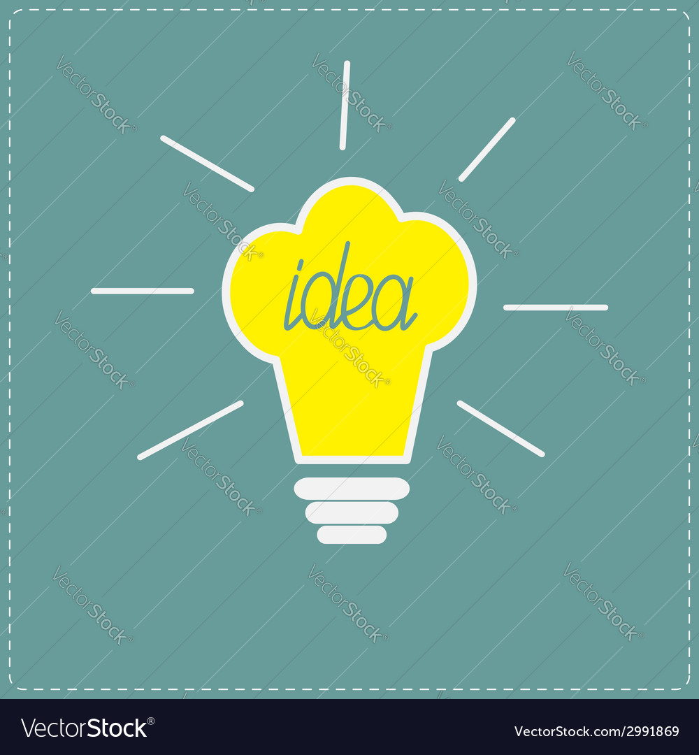 Chef hat yellow idea light bulb with shining lines vector | Price: 1 Credit (USD $1)