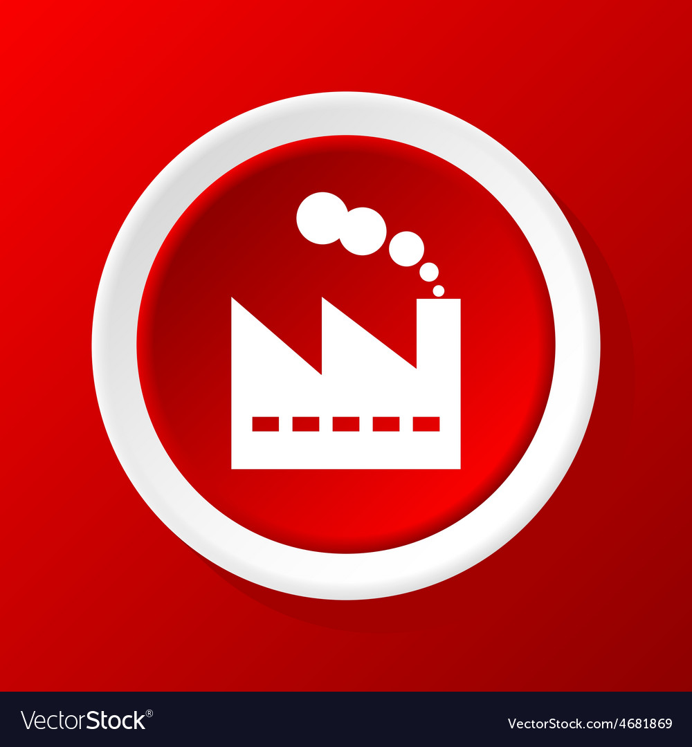 Factory icon on red vector | Price: 1 Credit (USD $1)