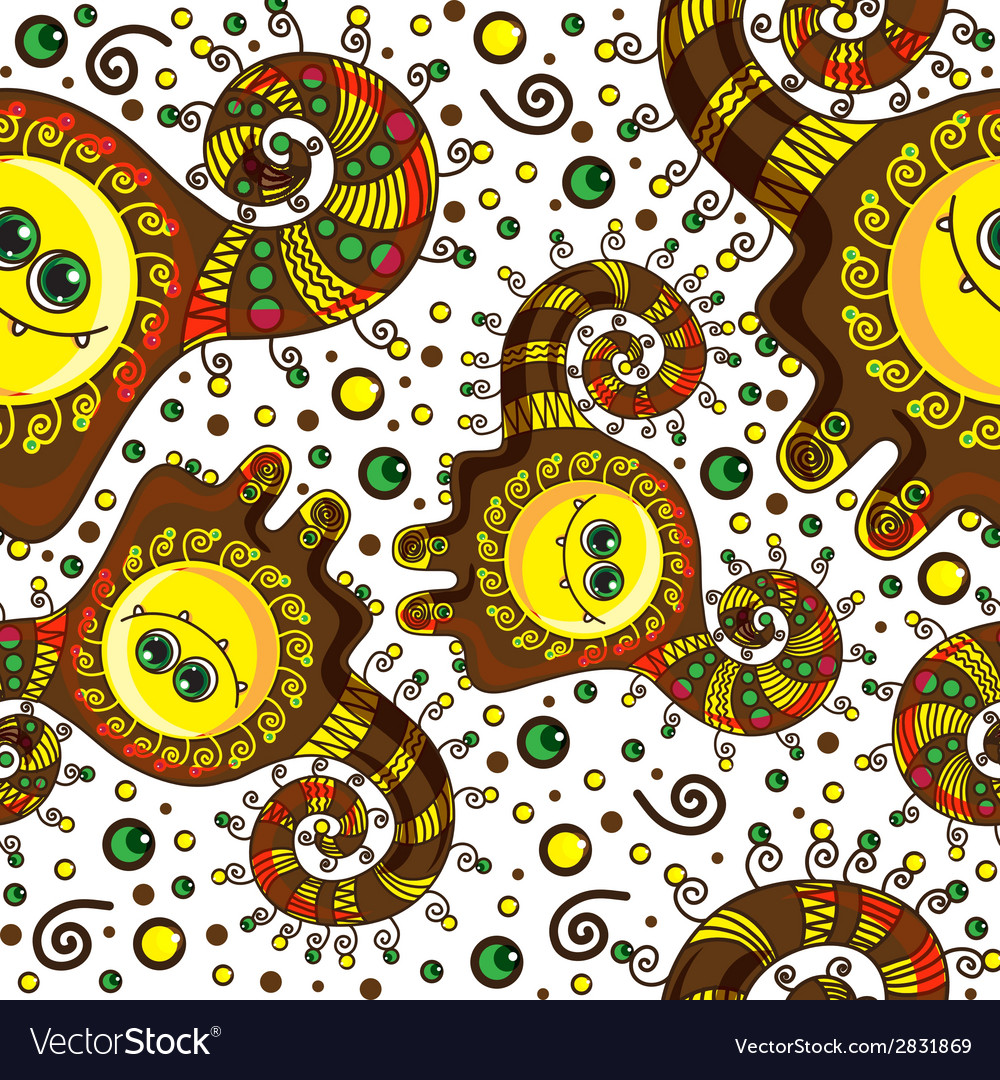 Funny monster seamless pattern doodle on a vector | Price: 1 Credit (USD $1)