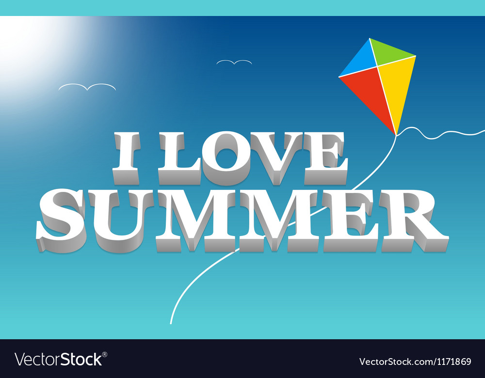I love summer lettering in a blue sky vector | Price: 1 Credit (USD $1)