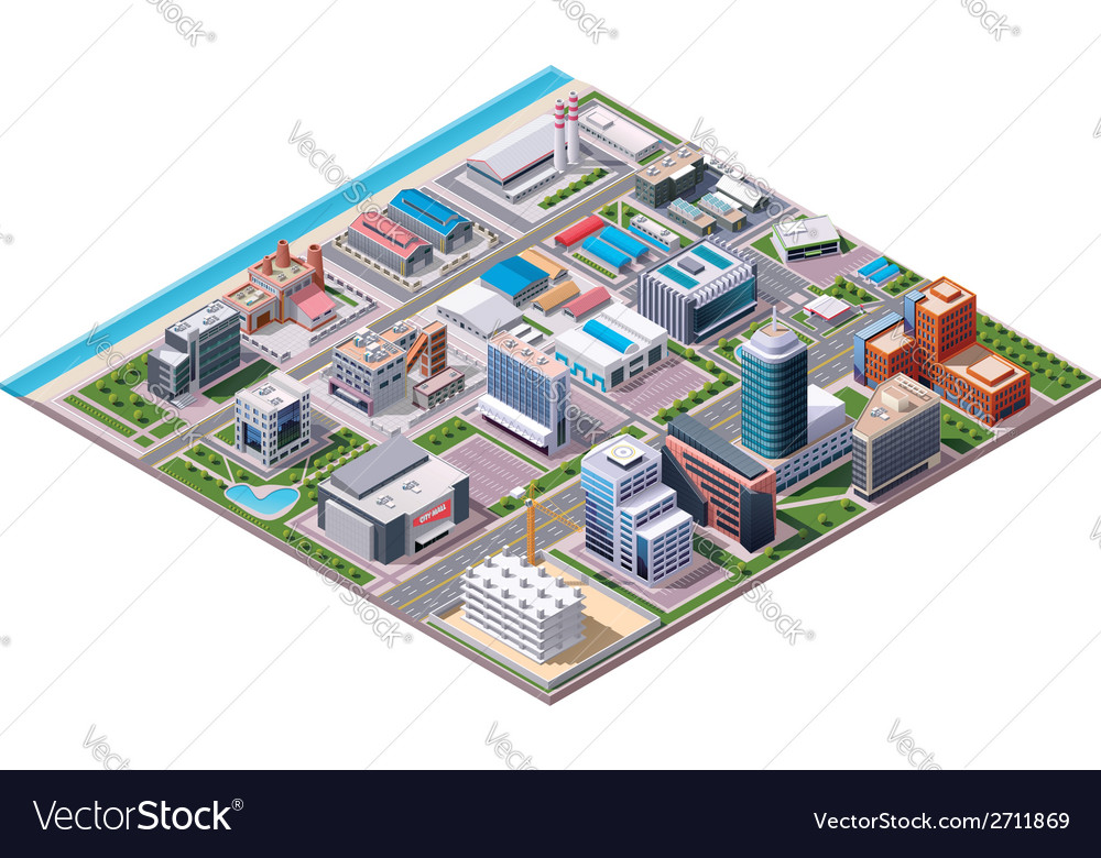 Isometric industrial and business city district ma vector | Price: 1 Credit (USD $1)