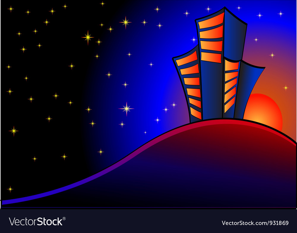 Night view vector | Price: 1 Credit (USD $1)