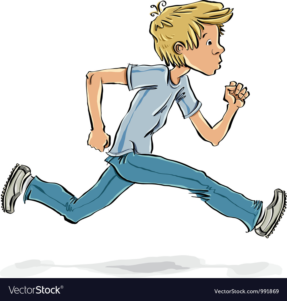 Running and hurrying teen boy vector | Price: 3 Credit (USD $3)