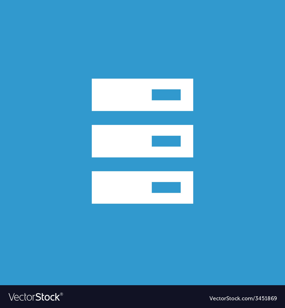 Server icon white on the blue background vector | Price: 1 Credit (USD $1)