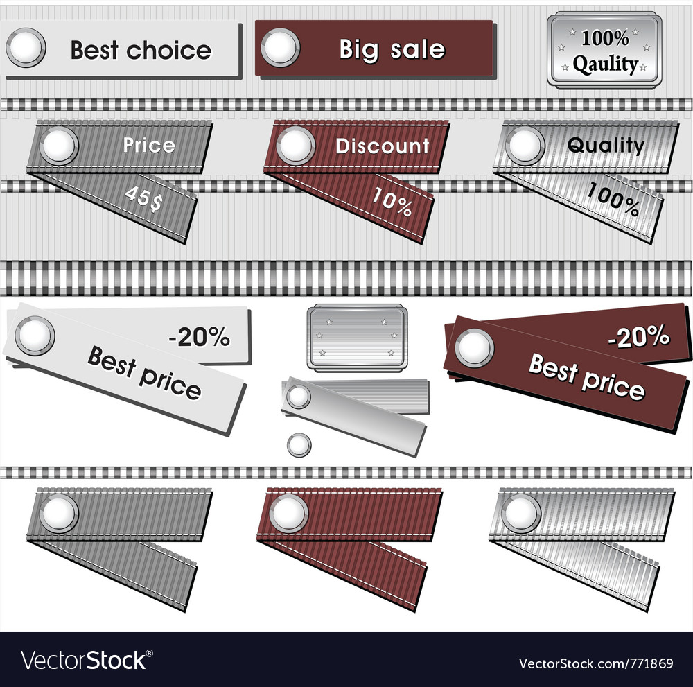 Set best labels grey metallic and brown color vector | Price: 1 Credit (USD $1)