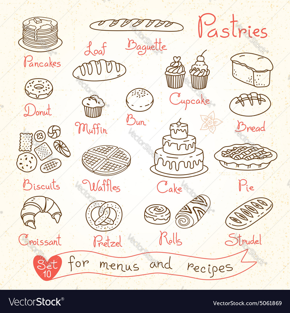 Set drawings of pastries and bread for design vector