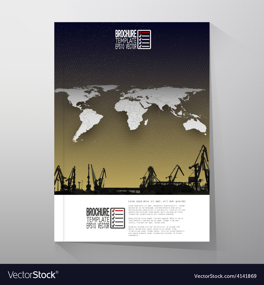Shipyard harbor skyline night design world map vector | Price: 1 Credit (USD $1)