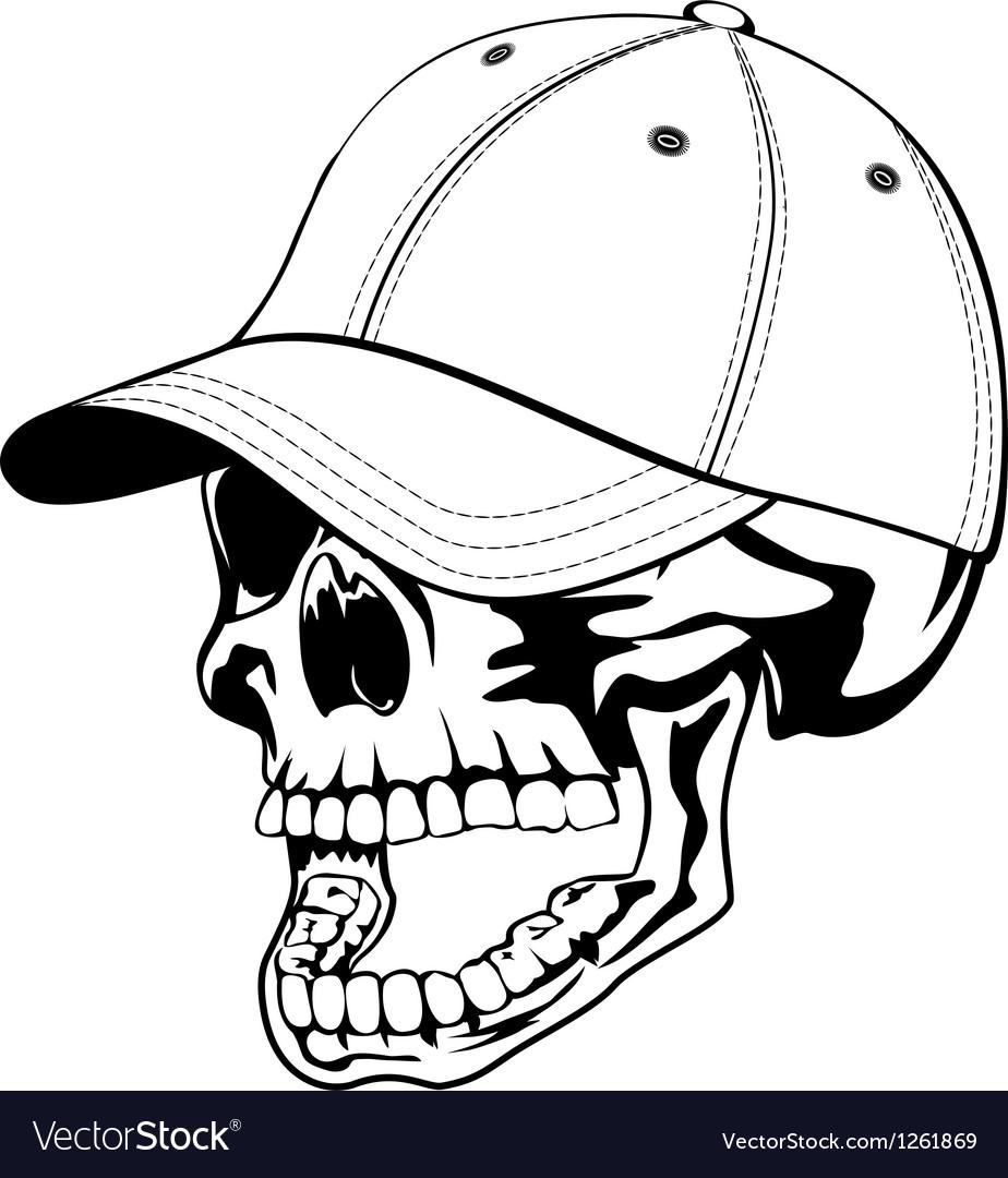Skull in cap vector | Price: 1 Credit (USD $1)