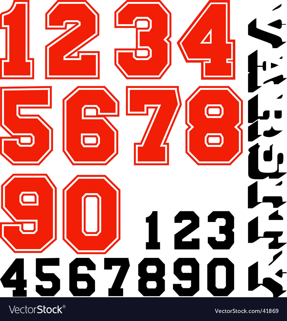 Varsity numbers vector | Price: 1 Credit (USD $1)