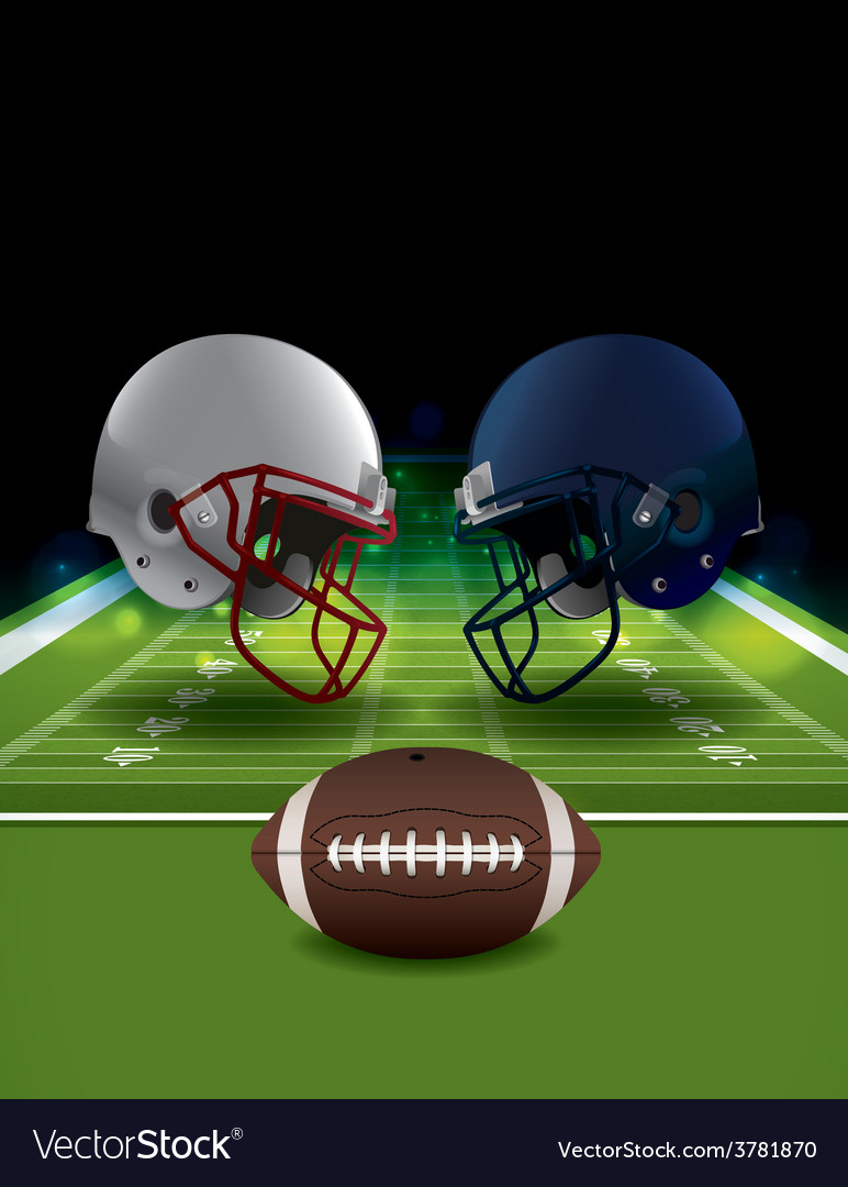 American football helmets and ball clashing vector | Price: 3 Credit (USD $3)