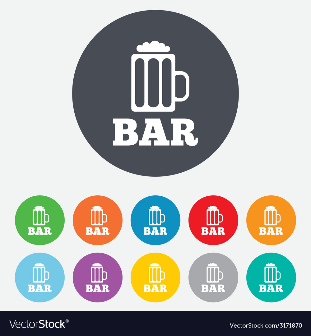 Bar or pub sign icon glass of beer symbol vector | Price: 1 Credit (USD $1)