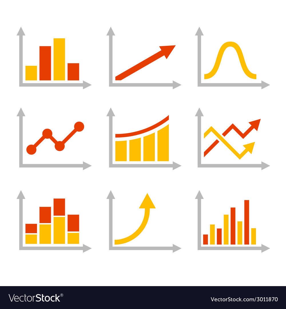 Color graph chart icons set vector | Price: 1 Credit (USD $1)