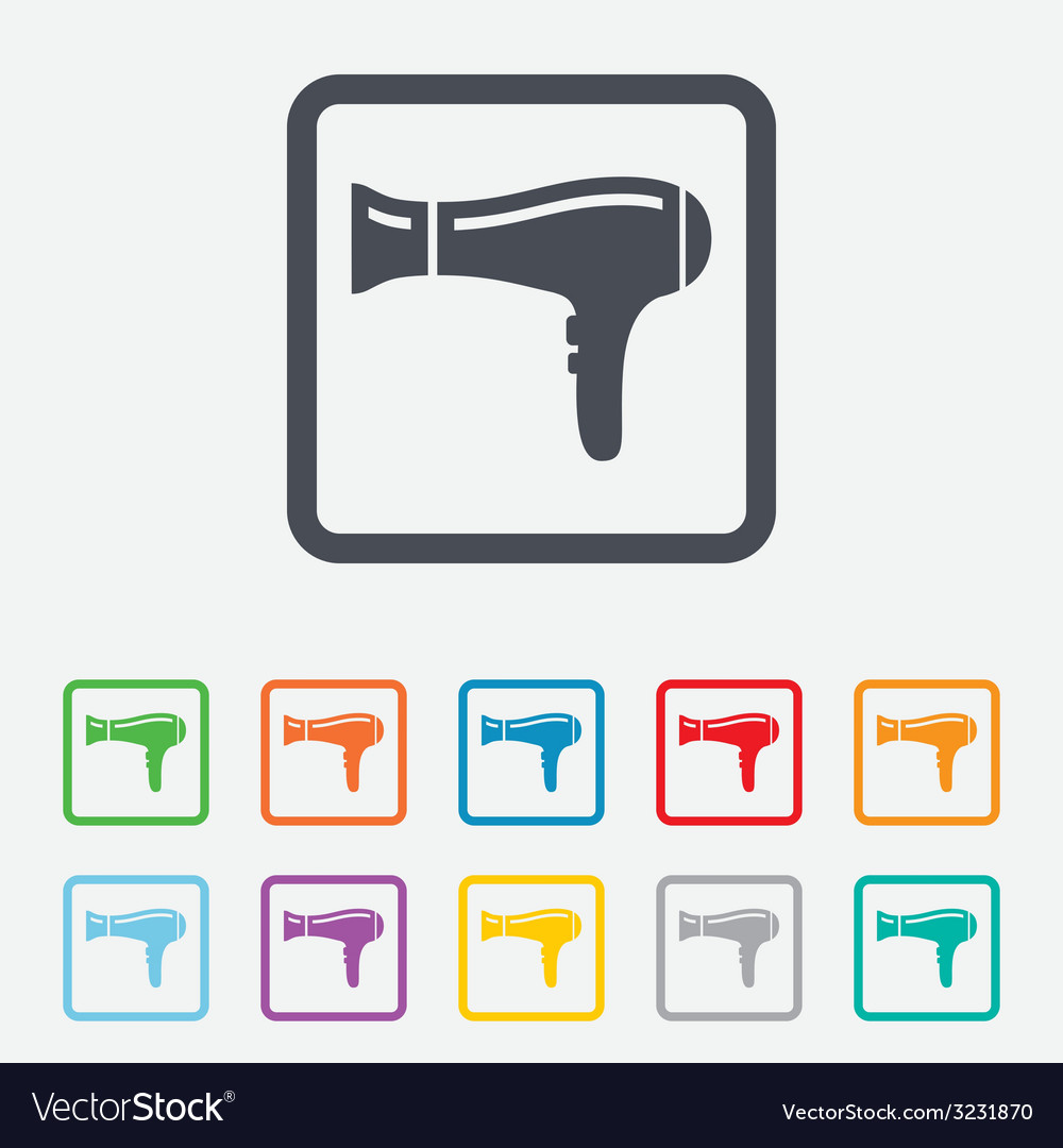 Hairdryer sign icon hair drying symbol vector | Price: 1 Credit (USD $1)