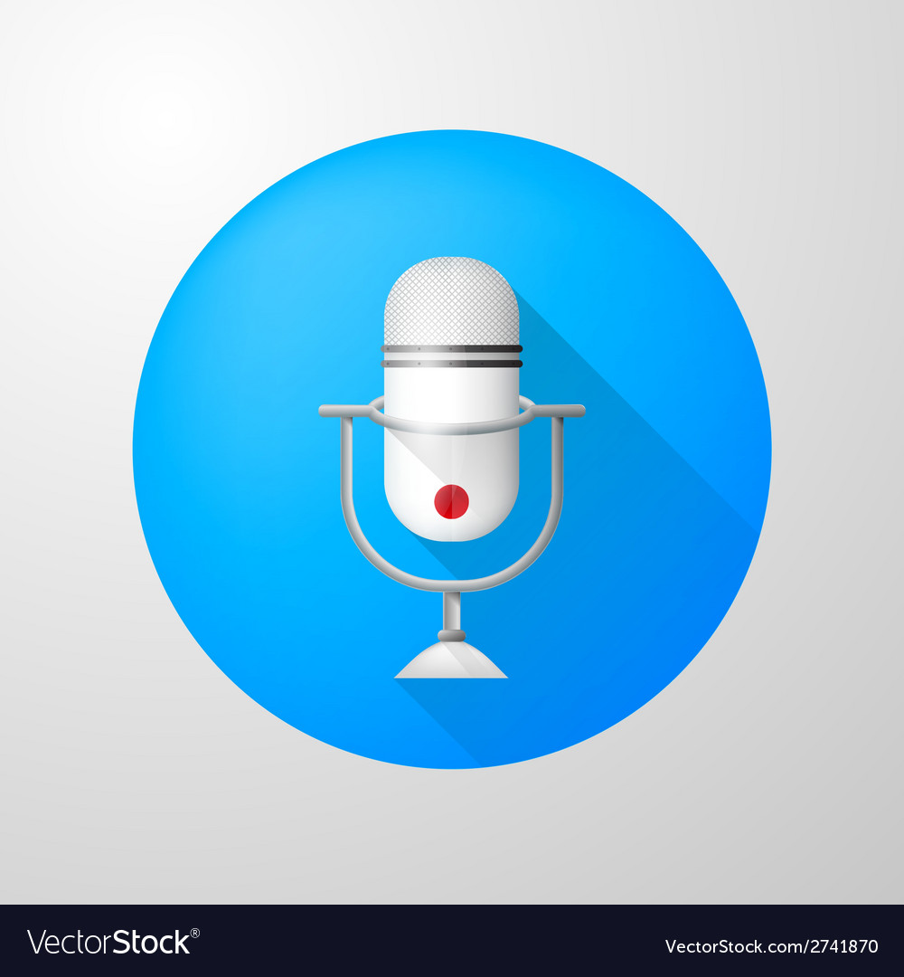 Icon for blog white vertical microphone vector | Price: 1 Credit (USD $1)