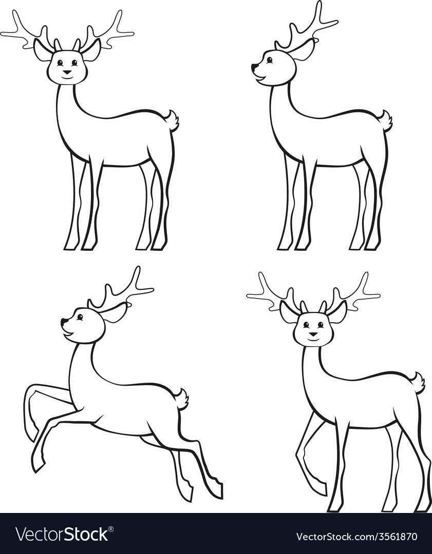 Reindeers set vector | Price: 1 Credit (USD $1)