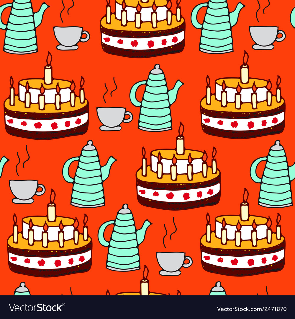 Seamless pattern of tea and pie vector | Price: 1 Credit (USD $1)