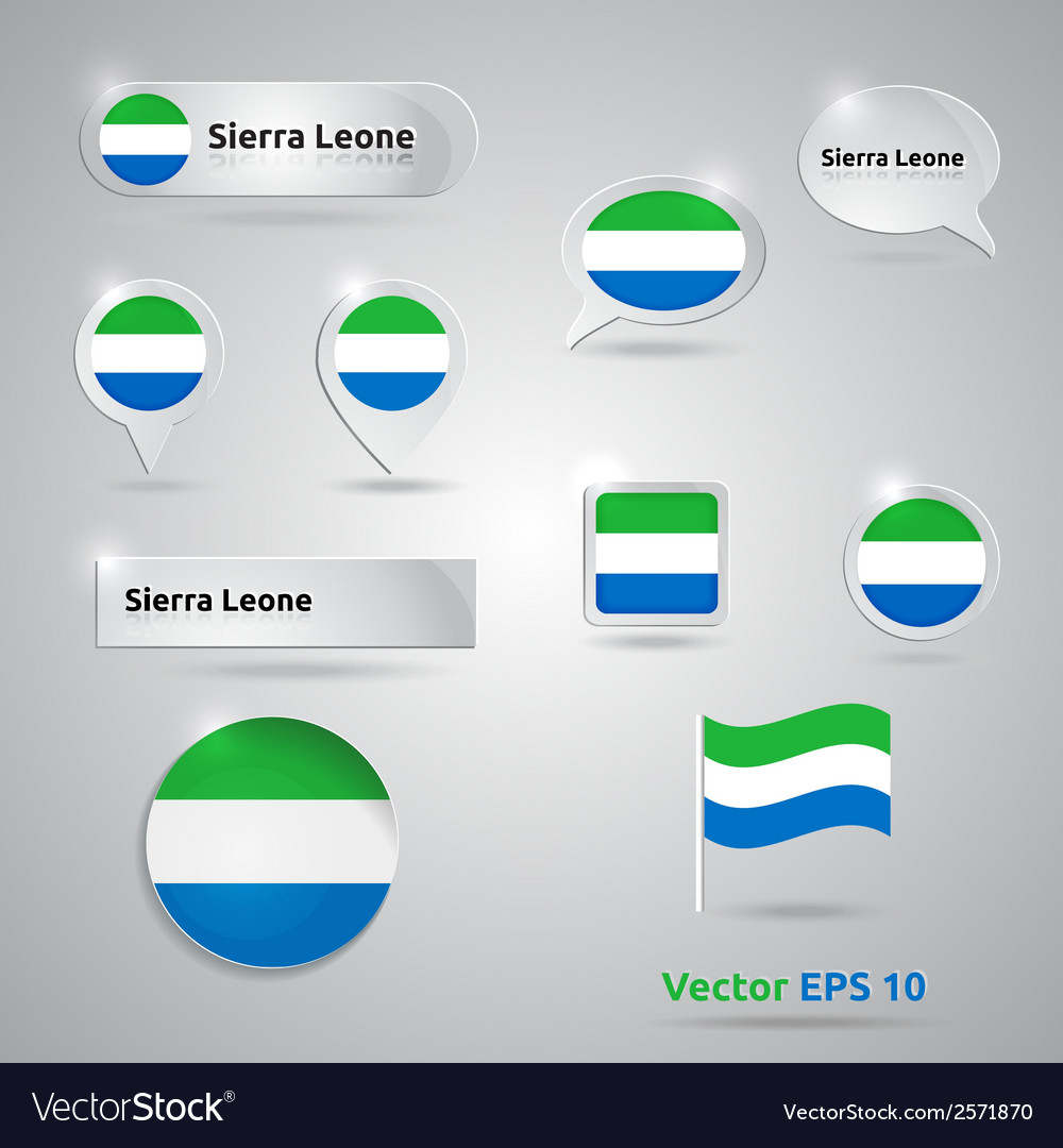 Sierra leone icon set of flags vector | Price: 1 Credit (USD $1)