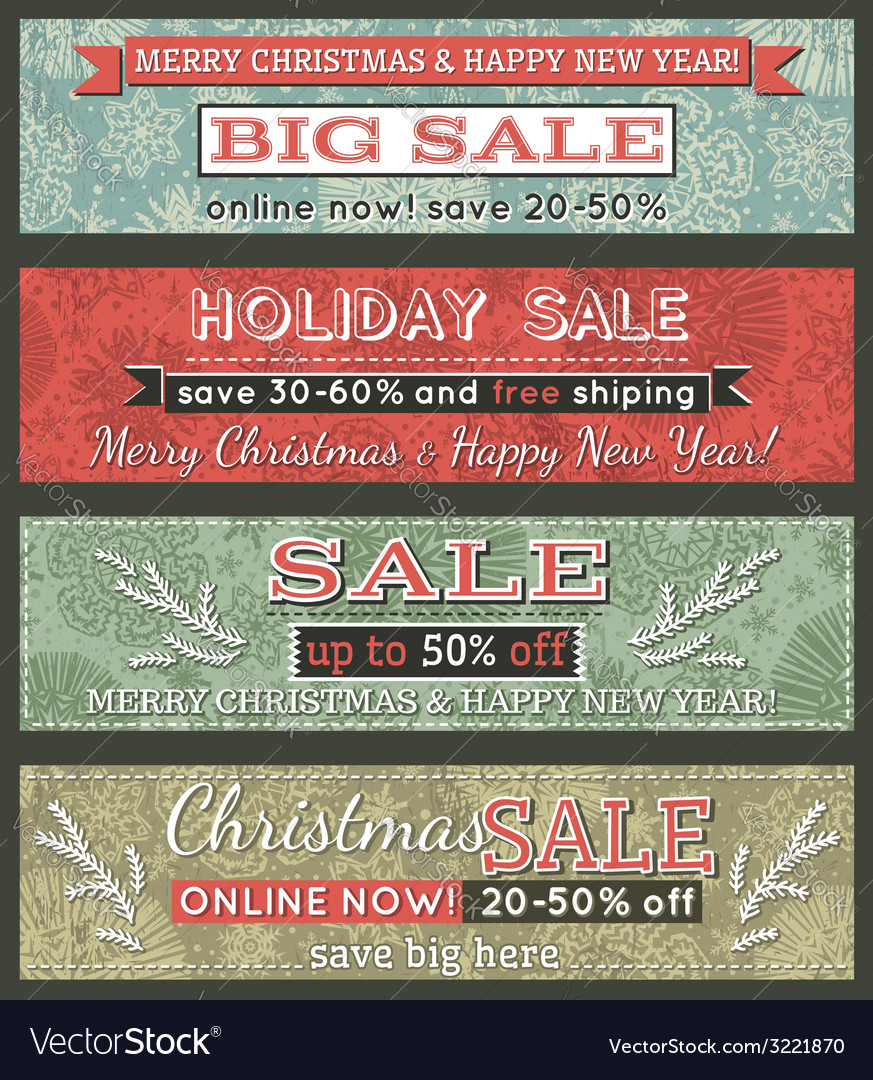 Vintage christmas banners with sale offer vector