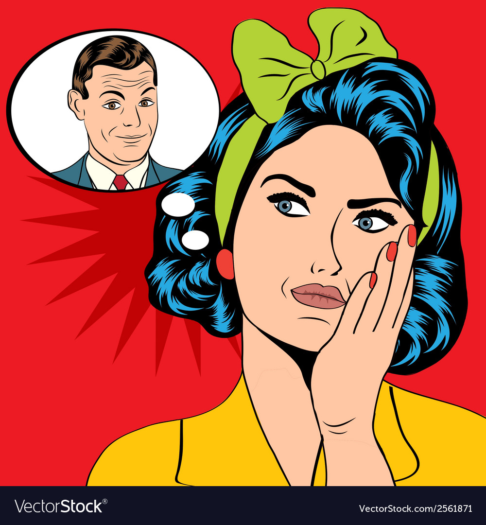 A woman who thinks a man in a pop art style vec vector | Price: 1 Credit (USD $1)