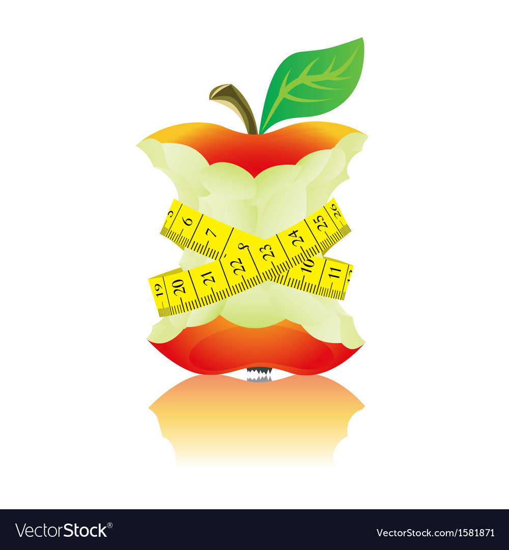 Apple with measure tape vector | Price: 1 Credit (USD $1)