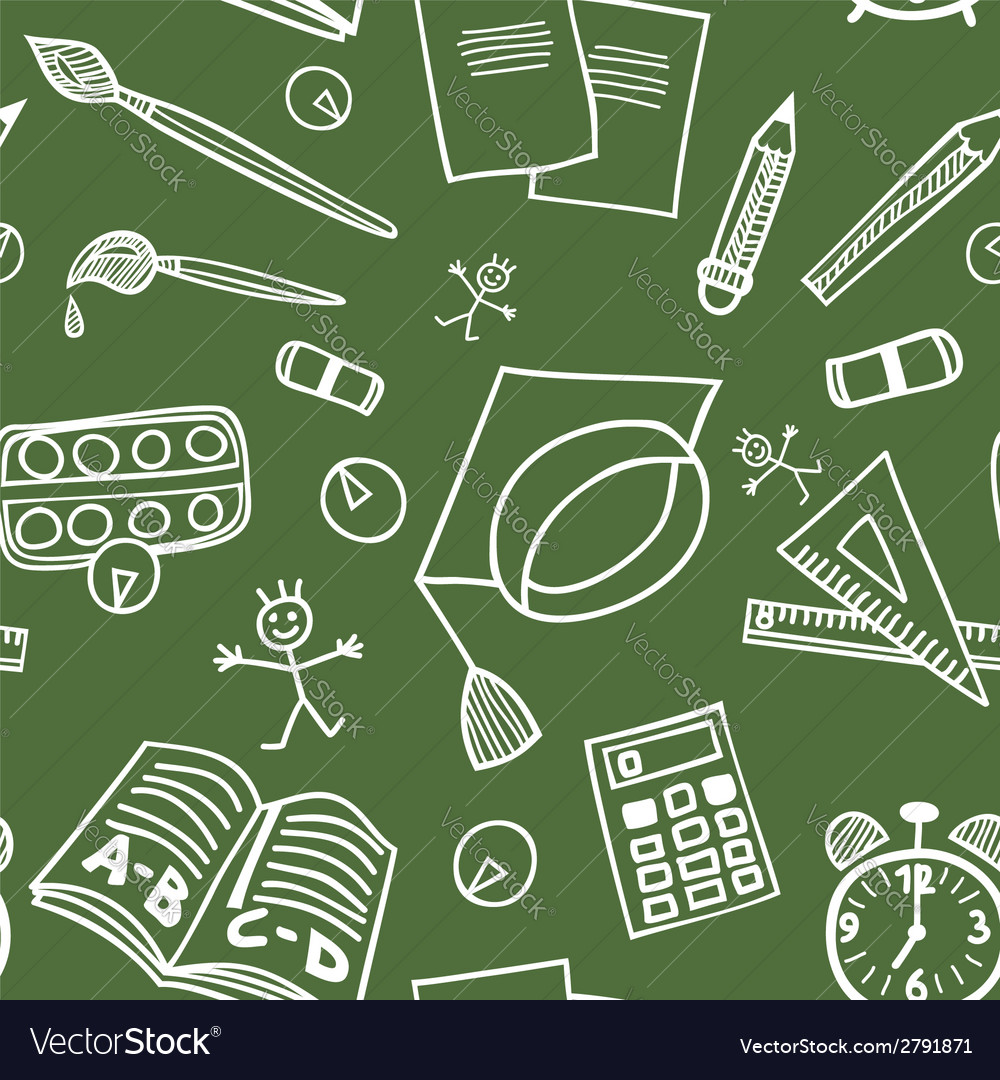 Back to school supplies doodles seamless pattern vector | Price: 1 Credit (USD $1)