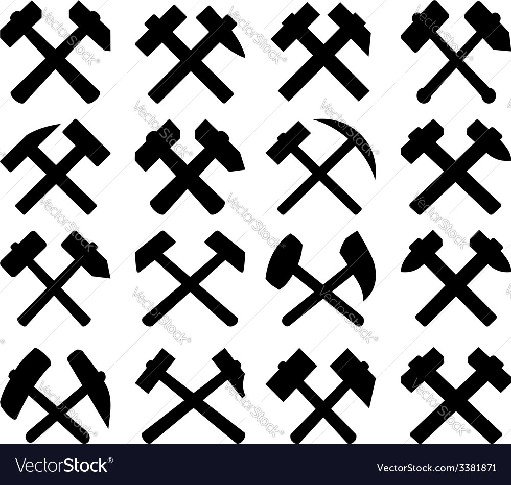 Crossed miners hammers set vector   Price: 1 Credit (USD $1)