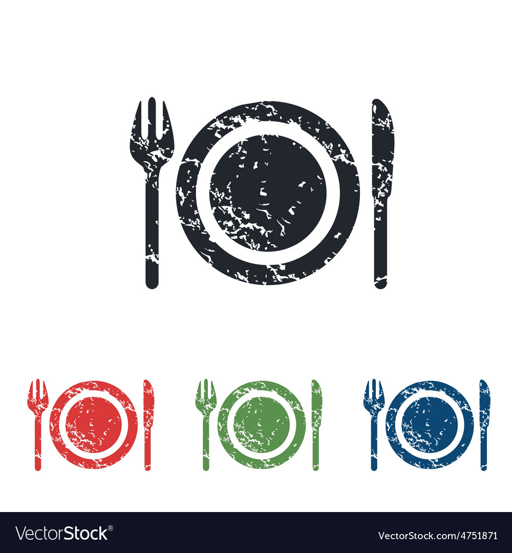 Dishware grunge icon set vector | Price: 1 Credit (USD $1)