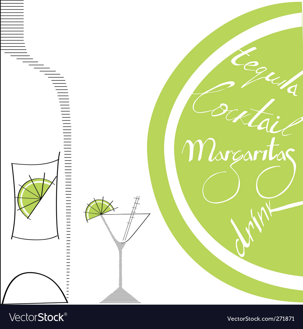 Glass with bottle and lime vector | Price: 1 Credit (USD $1)