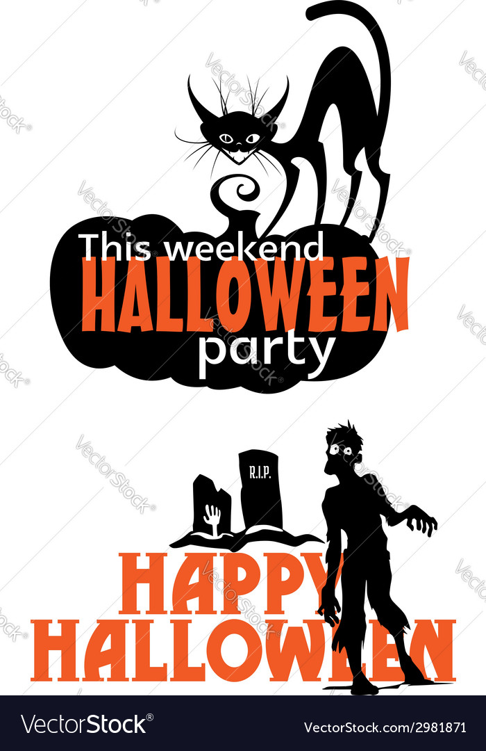 Halloween weekend party scary invitation vector | Price: 1 Credit (USD $1)