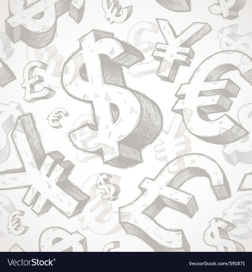 Hand drawn currency signs vector | Price: 1 Credit (USD $1)