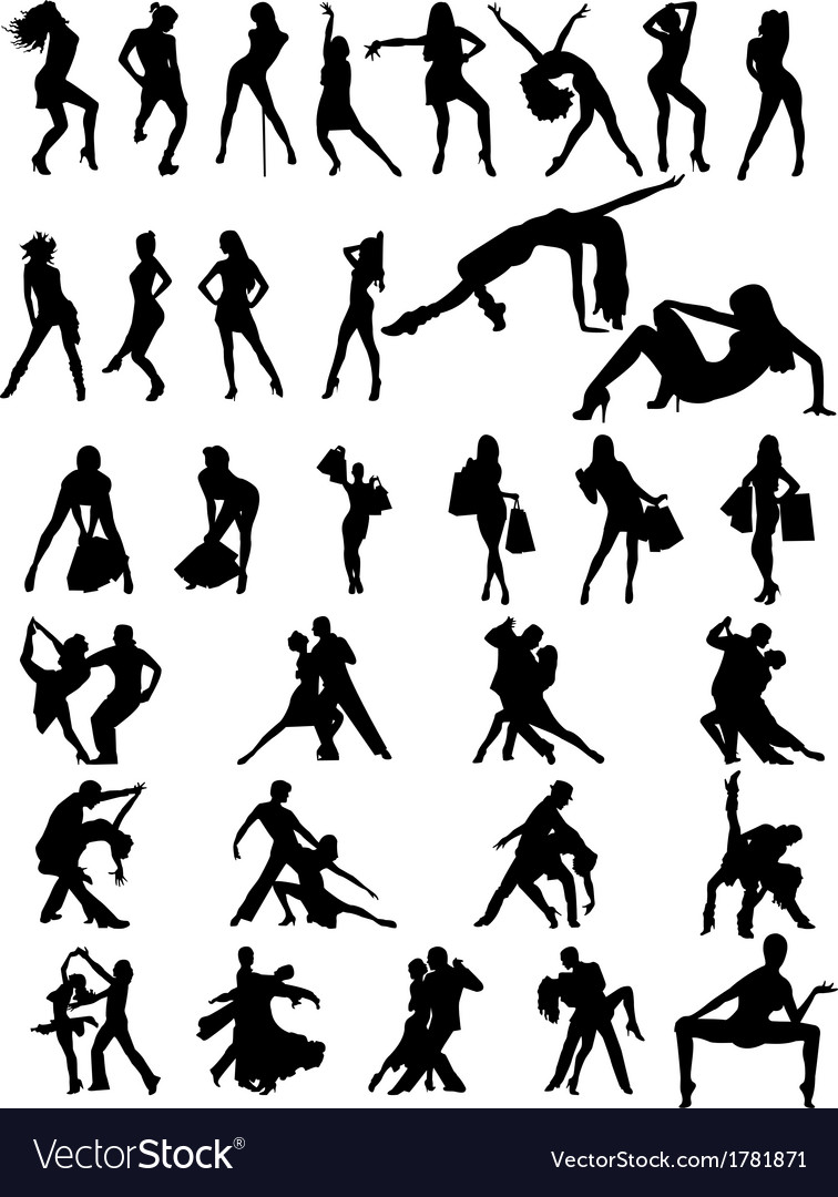 Set of silhouettes of dancing couple and girls vector | Price: 1 Credit (USD $1)