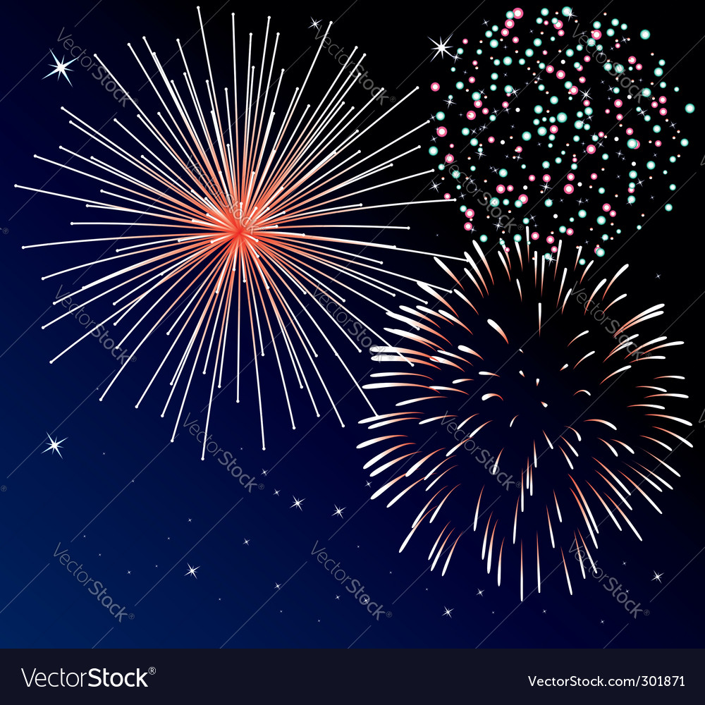 Three types of fireworks vector | Price: 1 Credit (USD $1)