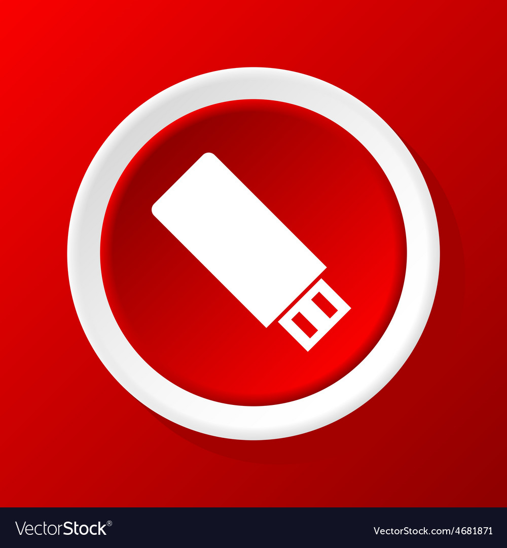Usb icon on red vector | Price: 1 Credit (USD $1)