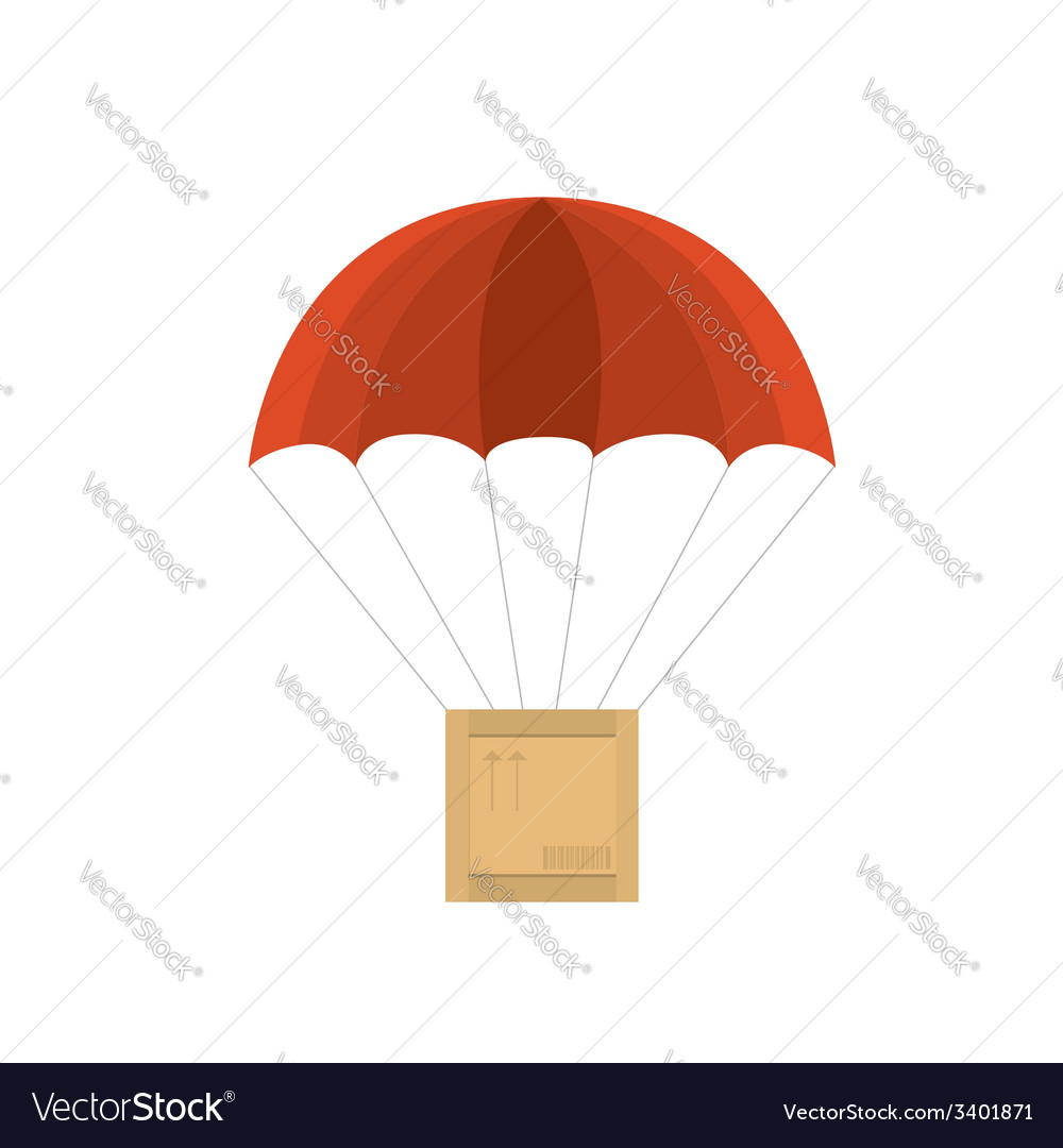 Wooden crate with red parachute vector | Price: 1 Credit (USD $1)
