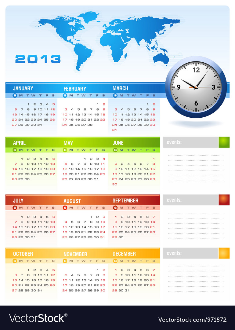 2013 colourful calendar vector | Price: 1 Credit (USD $1)